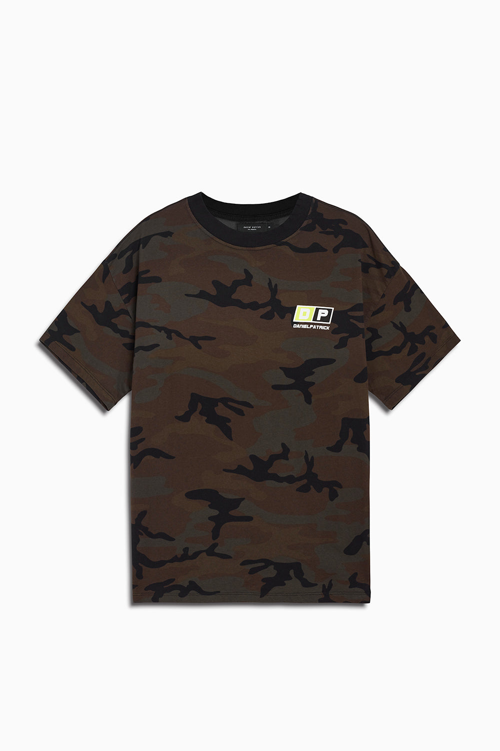 motorsport tee in camo/neon yellow by daniel patrick