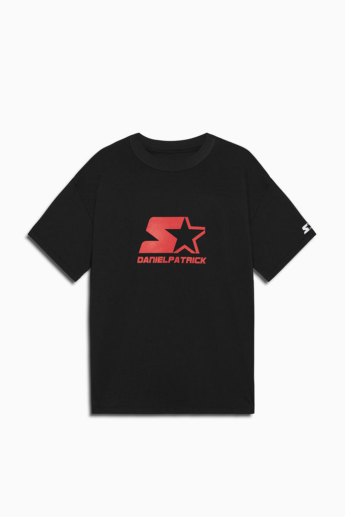 dp starter logo tee in black/red by daniel patrick x starter