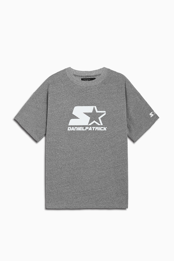 dp starter logo tee in heather grey/white by daniel patrick x starter