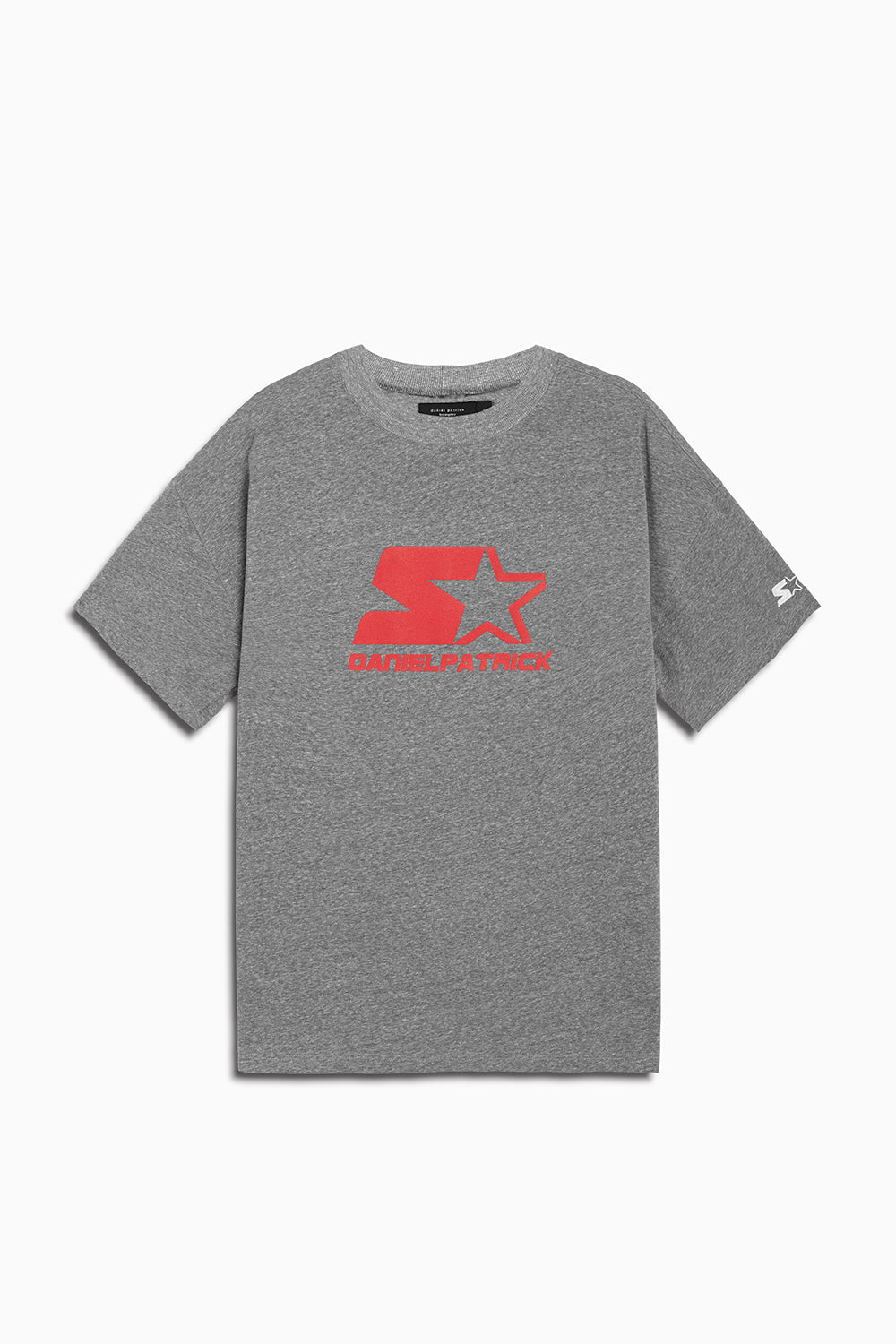 dp starter logo tee in heather grey/red by daniel patrick x starter