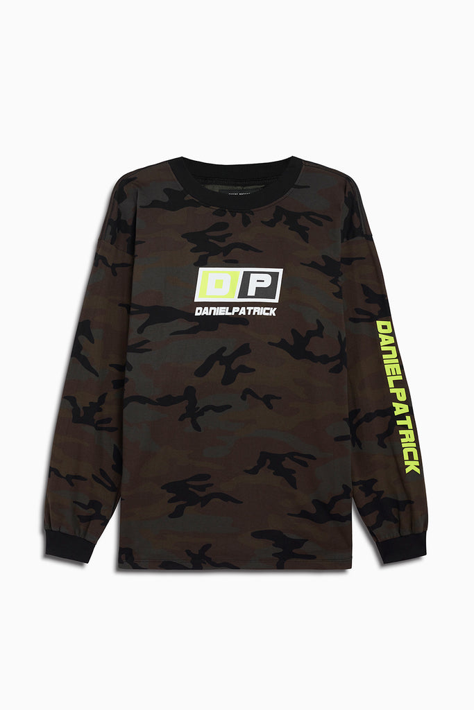 motorsport l/s crew in camo/neon yellow by daniel patrick