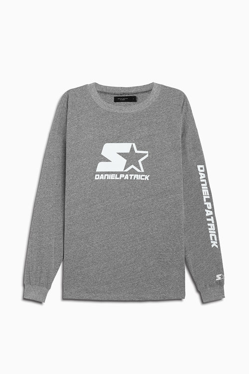 dp starter l/s logo crew in heather grey/white by daniel patrick