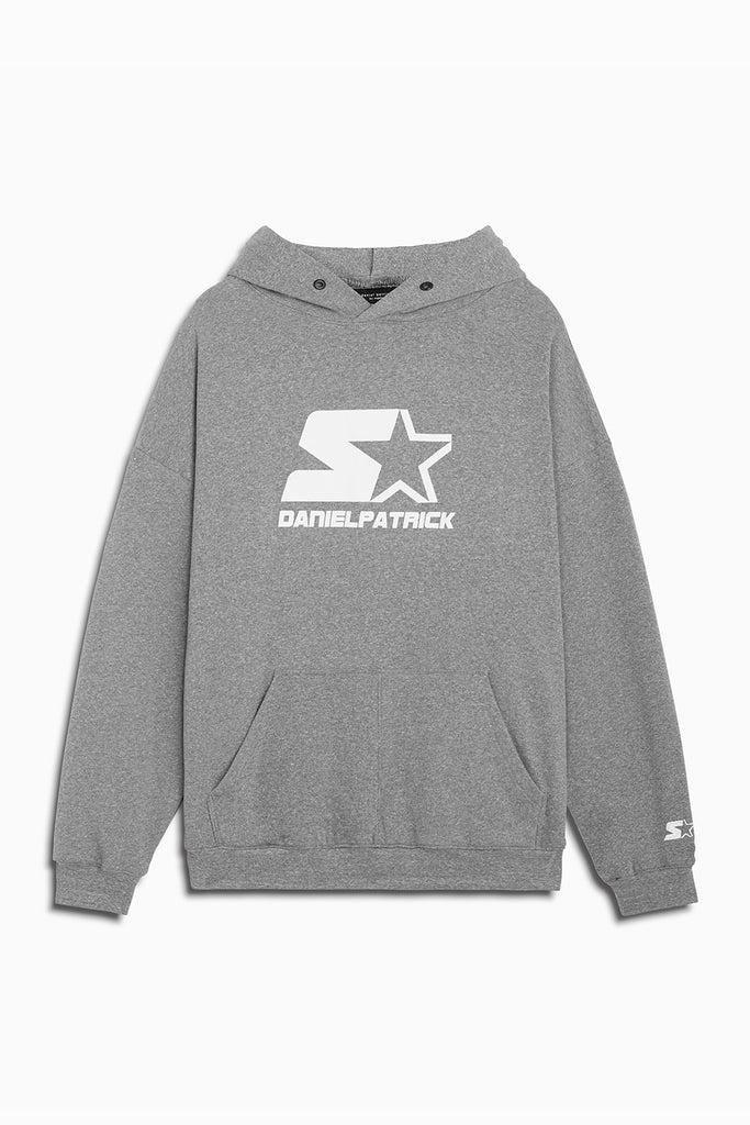 dp starter logo hoodie in heather grey/white by daniel patrick x starter