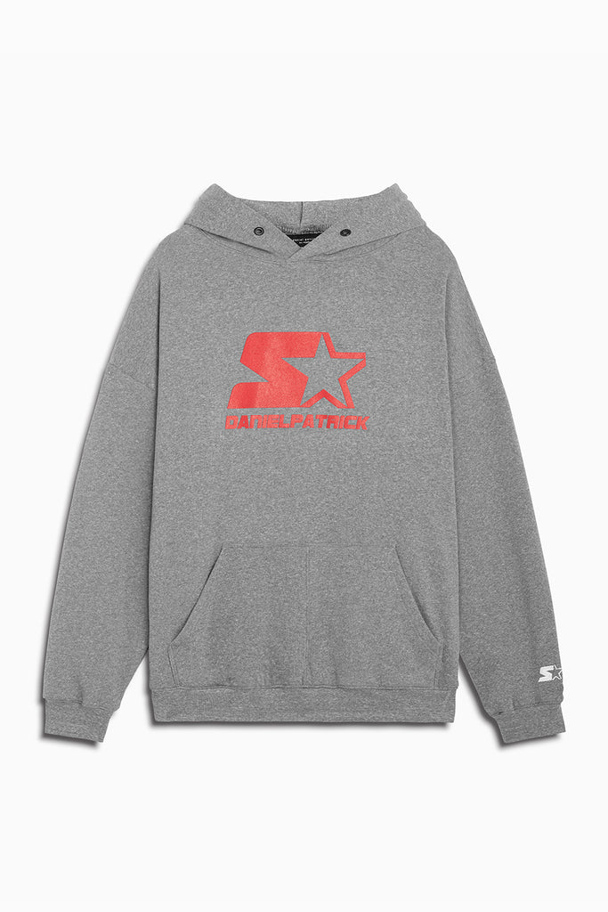 dp starter logo hoodie in heather grey/red by daniel patrick x starter