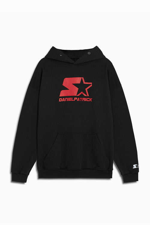 dp starter logo hoodie in black/red by daniel patrick x starter