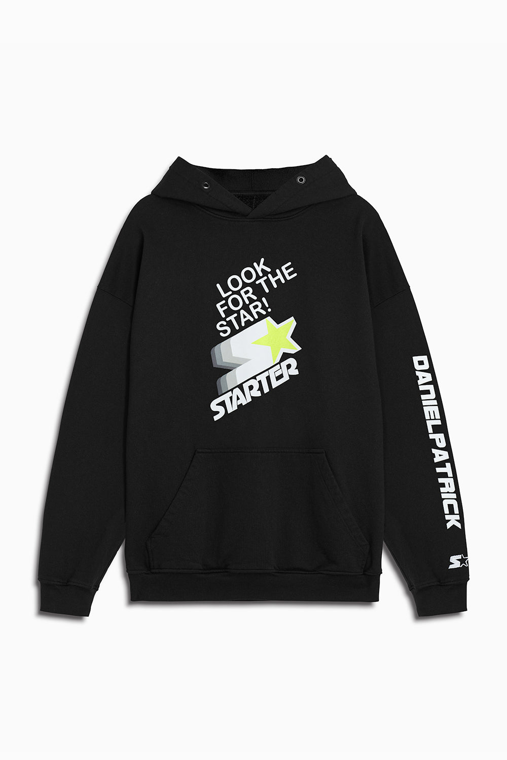 DP look for the star hoodie in black/white/neon by daniel patrick x starter