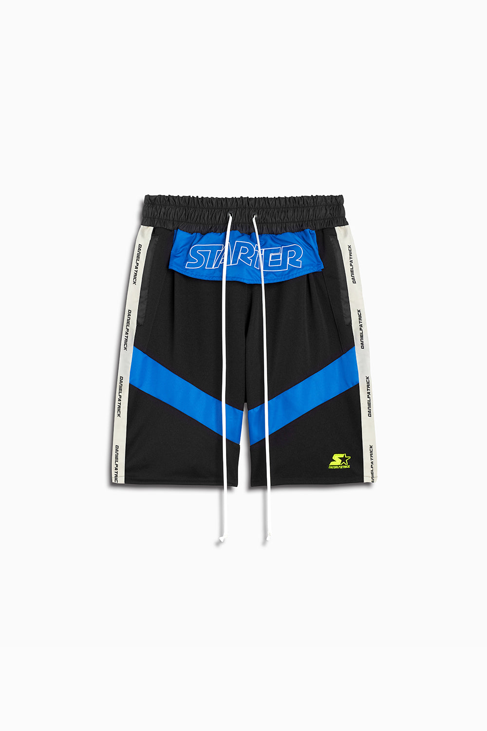 dp starter breakaway shorts in black/cobalt/ivory by daniel patrick x starter