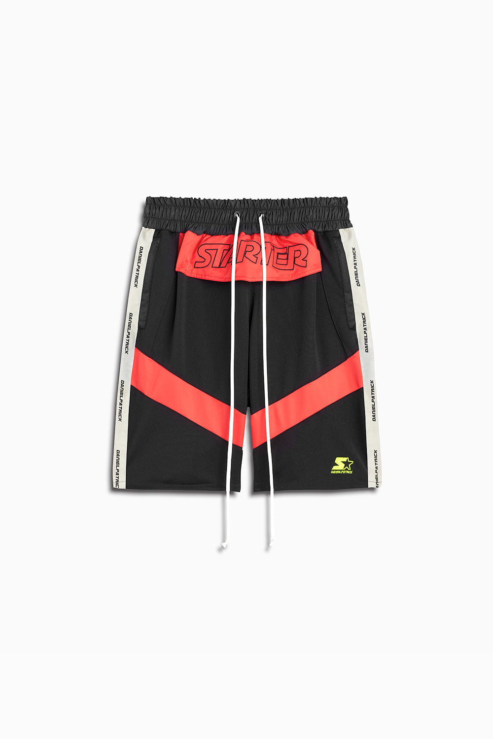 dp starter breakaway shorts in black/red/ivory by daniel patrick x starter