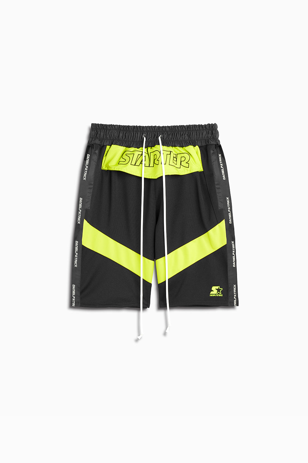 dp starter breakaway shorts in black/citrus lime by daniel patrick x starter