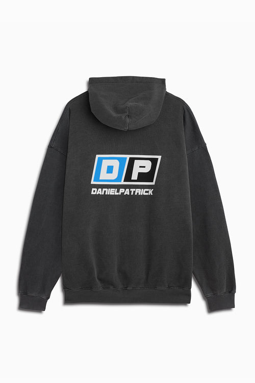 motorsport hoodie in vintage black/cobalt by daniel patrick