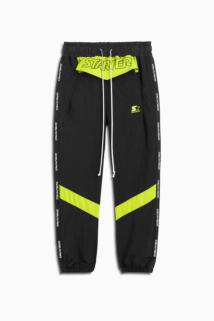 dp starter breakaway track pant in black/citrus lime by daniel patrick x starter