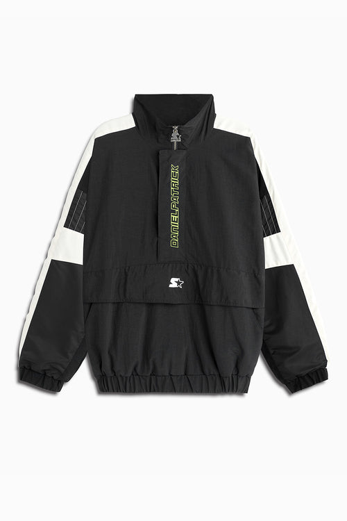 dp breakaway half-zip windbreaker jacket in black/ivory by daniel patrick x starter