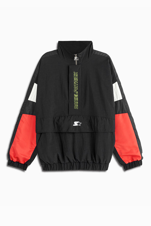 dp breakaway half-zip windbreaker jacket in black/red/ivory by daniel patrick x starter