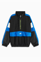 dp breakaway half-zip windbreaker jacket in black/cobalt/ivory by daniel patrick x starter