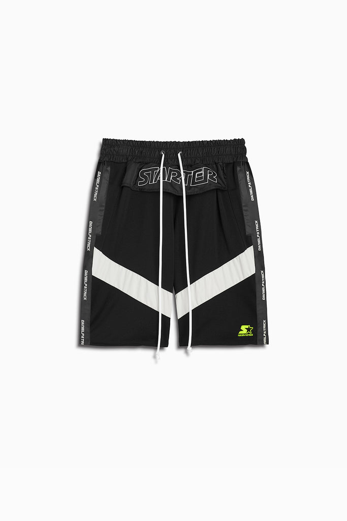 dp starter breakaway shorts in black/ivory by daniel patrick x starter