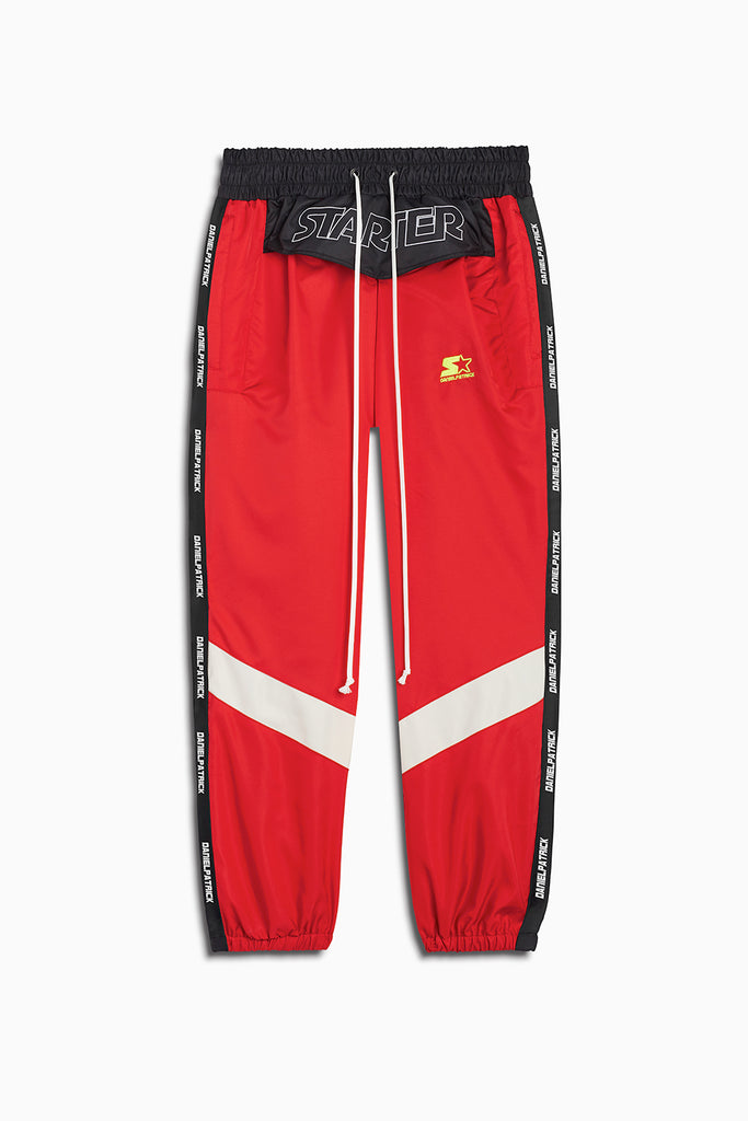 dp starter breakaway track pant in red/black/ivory by daniel patrick x starter