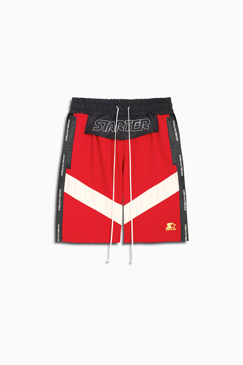 dp starter breakaway shorts in red/black/ivory by daniel patrick x starter