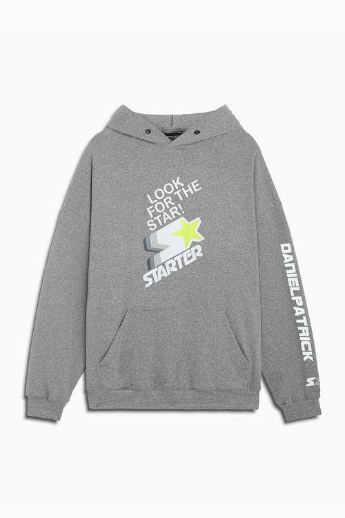 dp look for the star hoodie in heather grey/white/neon by daniel patrick x starter