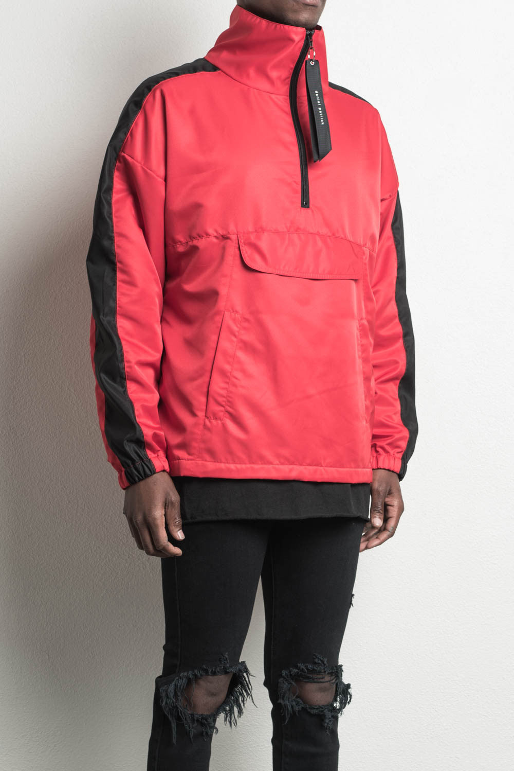 anorak track jacket in red/black by daniel patrick