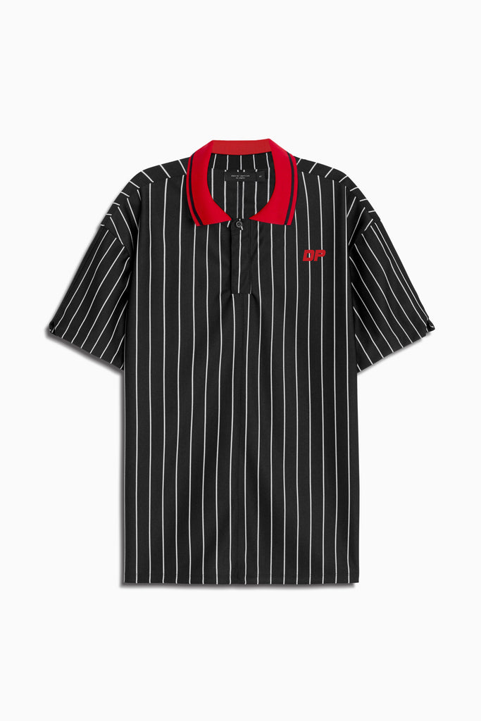 dp rugby polo in black stripe/red by daniel patrick
