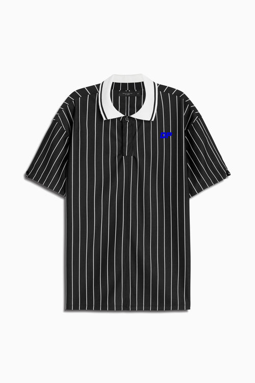 dp rugby polo in black stripe/ivory/cobalt by daniel patrick