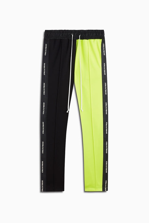 50/50 baggy track pant / black + neon yellow