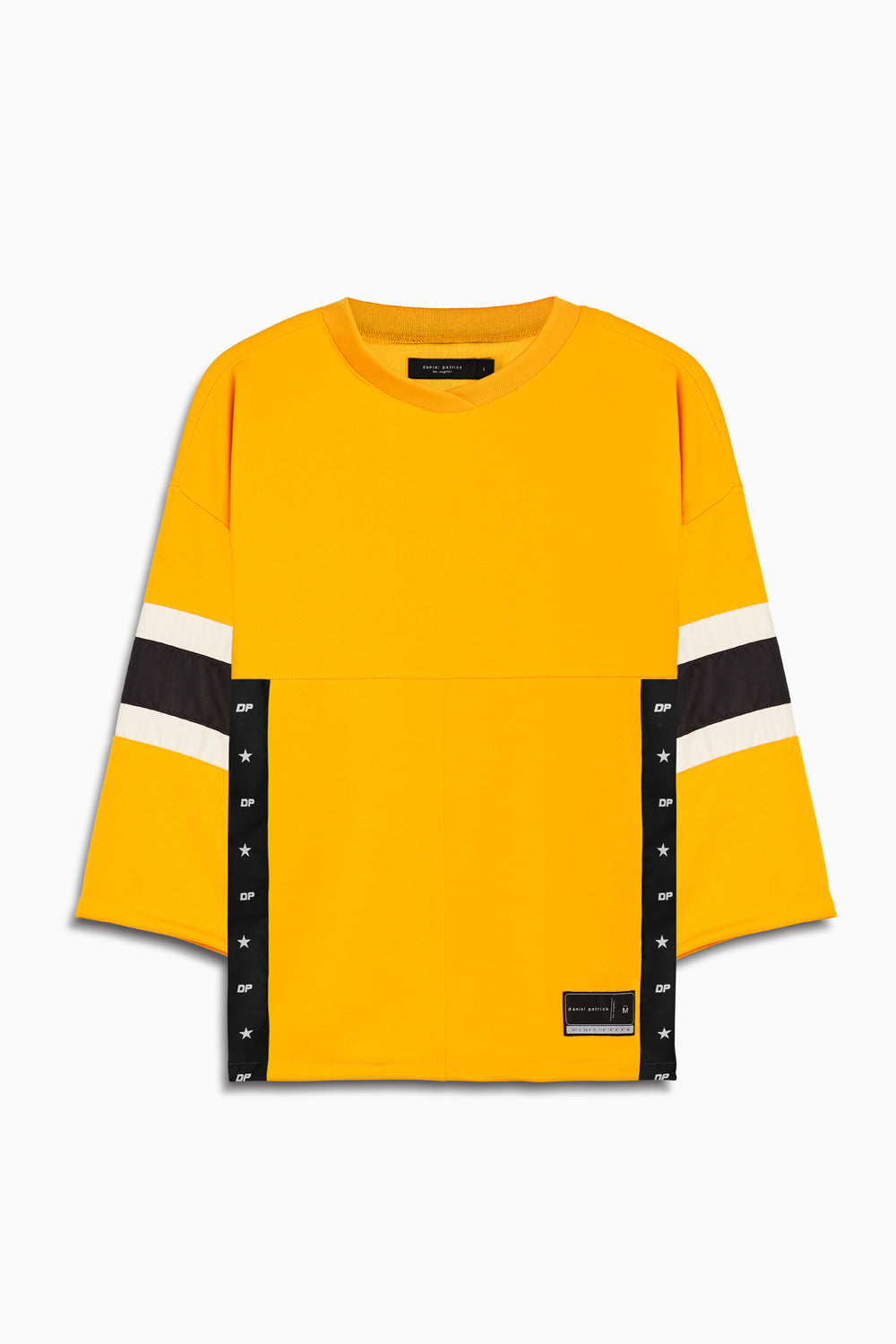 3/4 sleeve jersey in yellow/black/ivory by daniel patrick