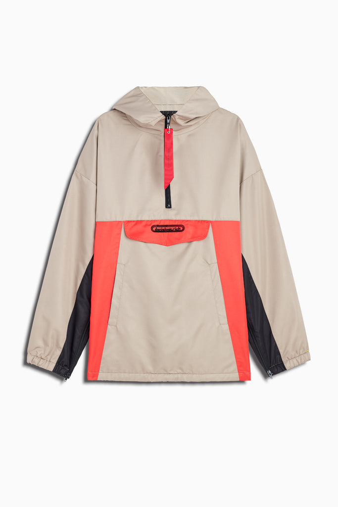 anorak windbreaker in wheat/black/red by daniel patrick