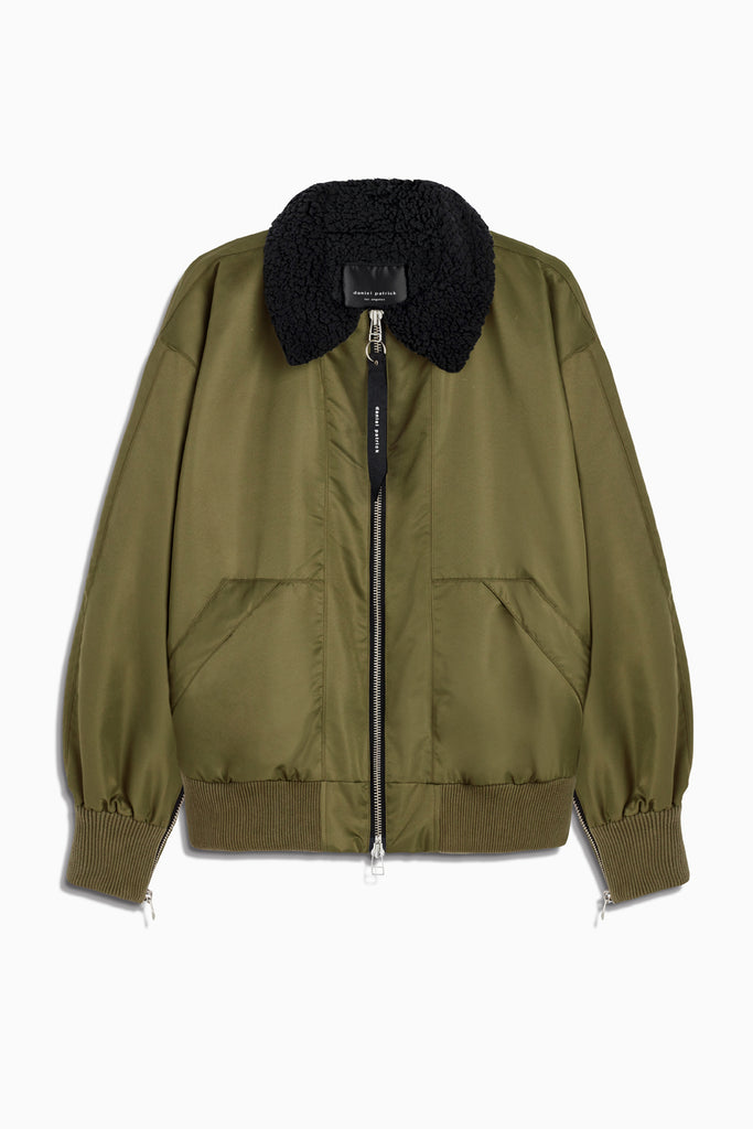 aviator bomber in olive/black by daniel patrick