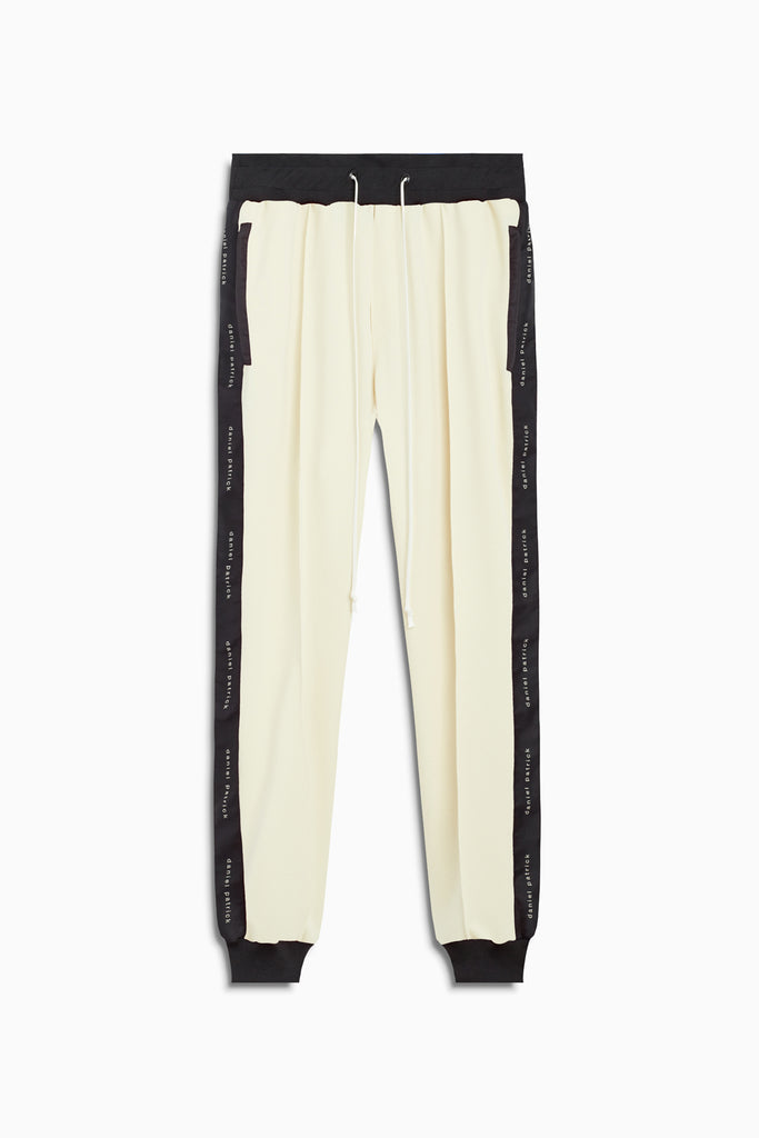 slim track pant in ivory/black by daniel patrick