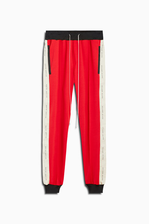 slim track pant in red/ivory by daniel patrick