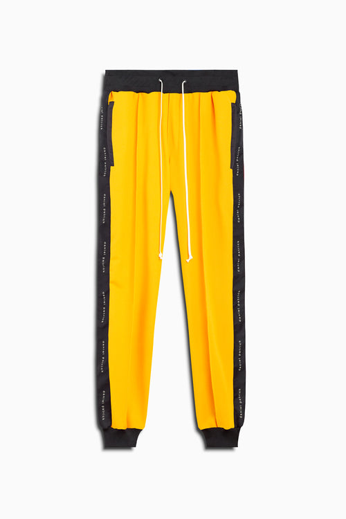 slim track pant in yellow/black by daniel patrick