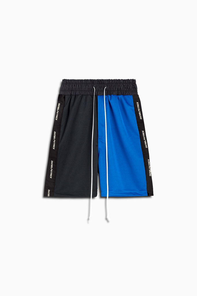 50/50 gym short in black/cobalt by daniel patrick