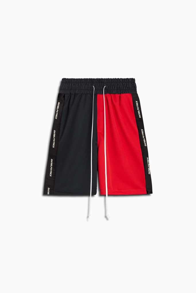 50/50 gym short in black/red by daniel patrick