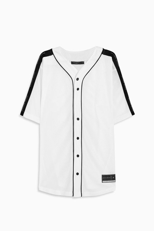 mesh baseball jersey in white/black by daniel patrick