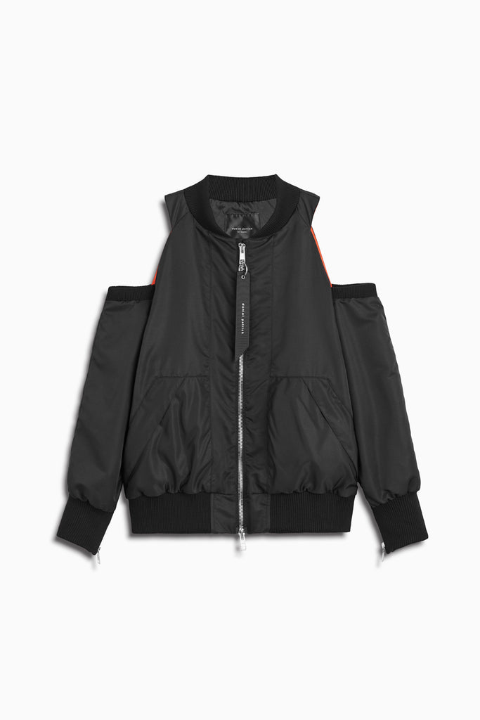 womens cold shoulder bomber in black by daniel patrick