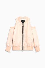 womens cold shoulder bomber in pink by daniel patrick