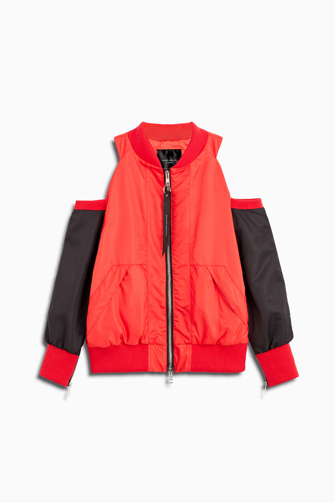 womens cold shoulder bomber in red/black by daniel patrick