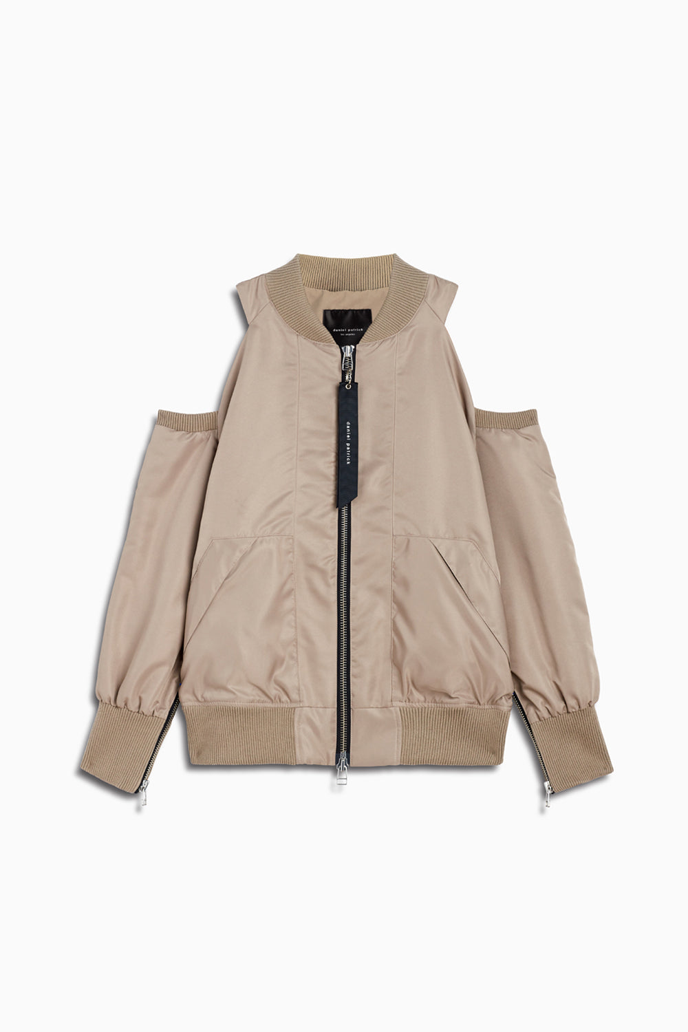 womens cold shoulder cut-out bomber jacket in wheat by daniel patrick