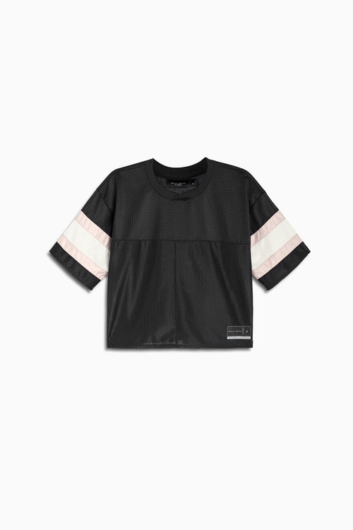 womens crop mesh football jersey in black/dune/ivory by daniel patrick