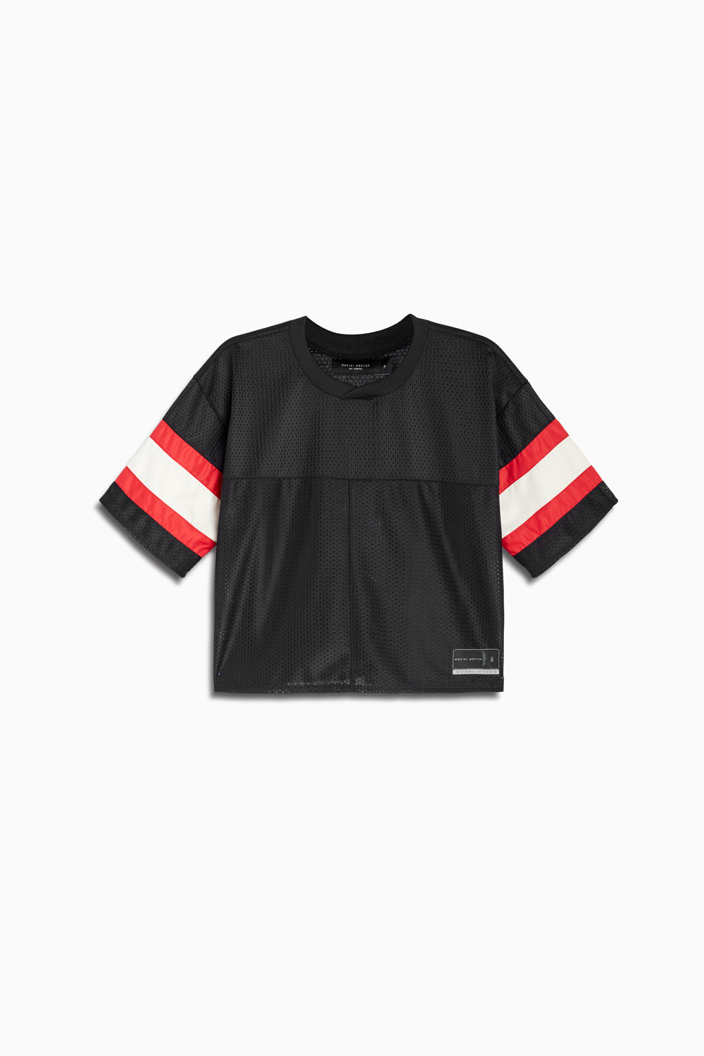 womens crop mesh football jersey in black/red/ivory by daniel patrick