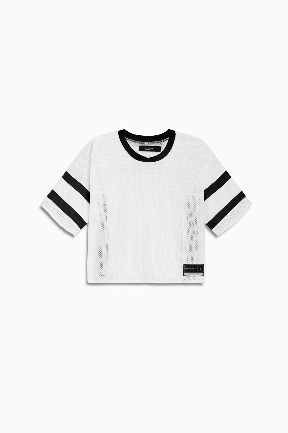 womens crop mesh football jersey in white/black by daniel patrick