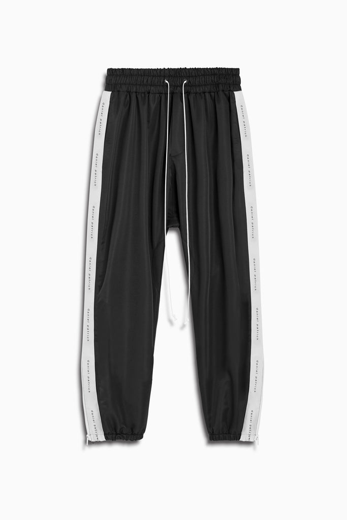 dp parachute track pant in black/natural by daniel patrick