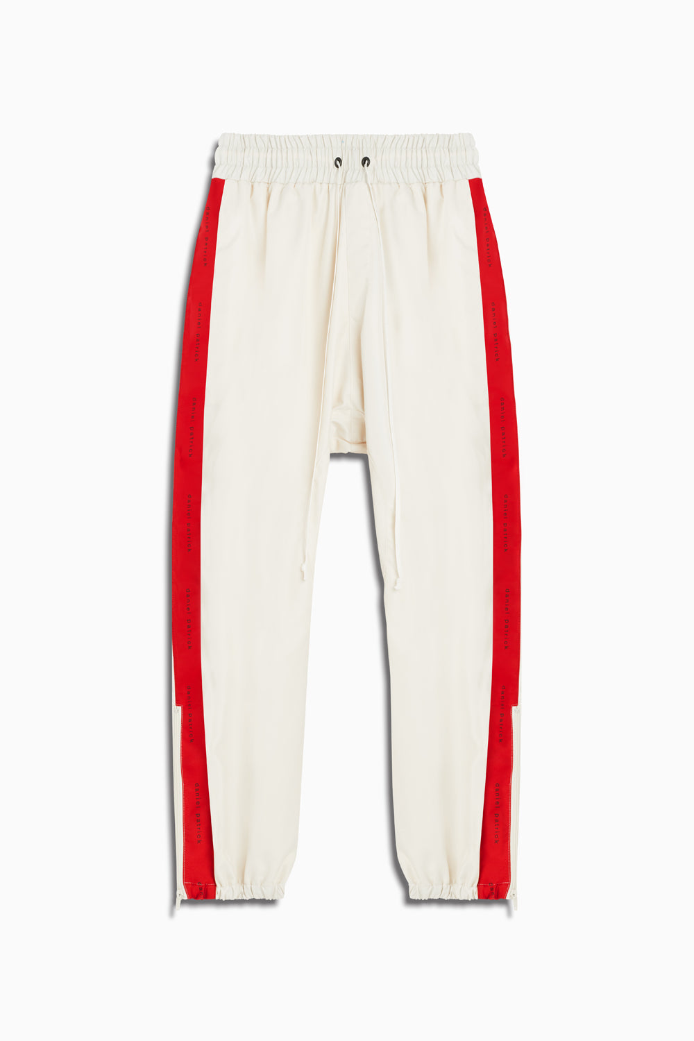 dp parachute track pant in ivory/red by daniel patrick