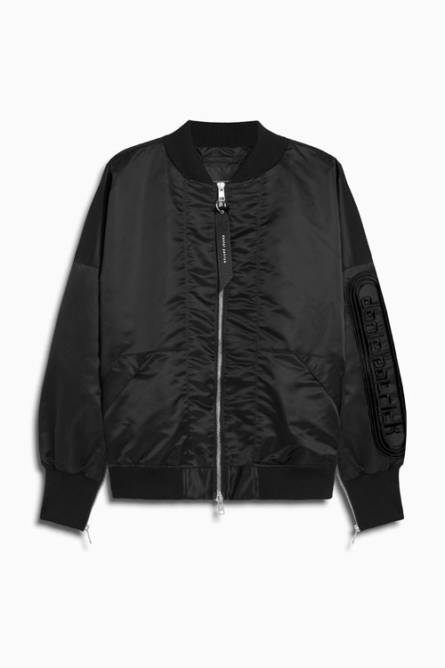 dp retro bomber in black/black by daniel patrick