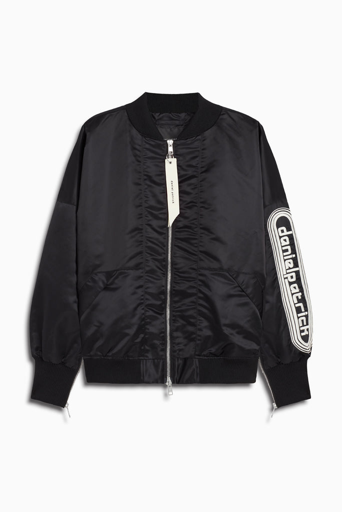 dp retro bomber in black/natural by daniel patrick