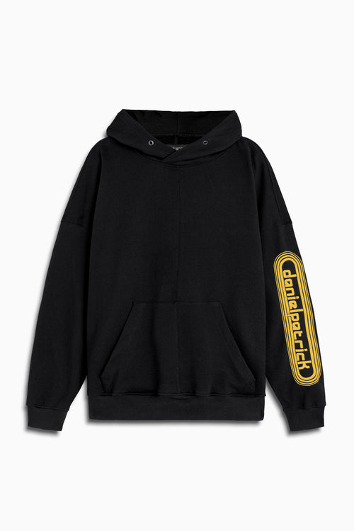 dp retro hoodie in black/yellow by daniel patrick