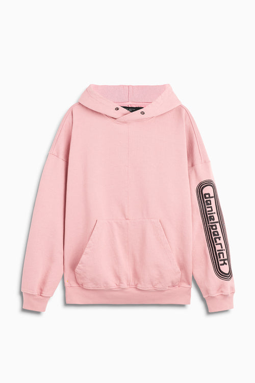 dp retro hoodie in blush/black by daniel patrick