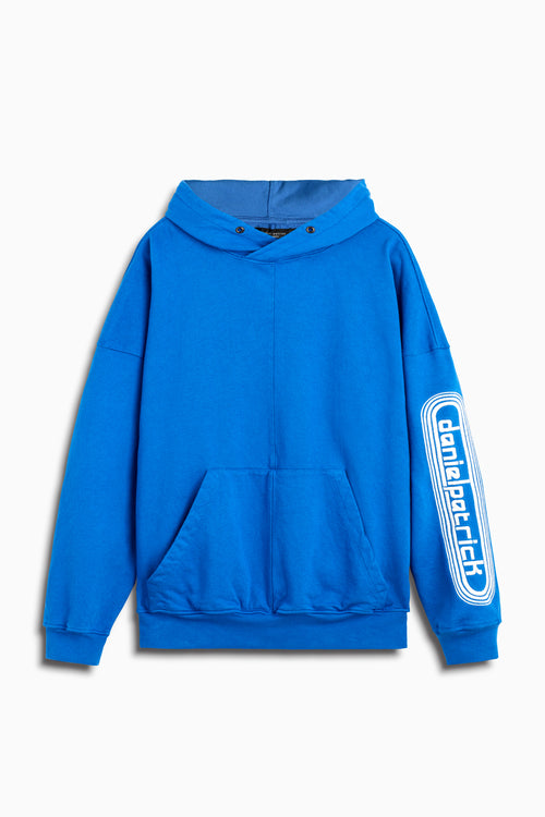 dp retro hoodie in cobalt/natural by daniel patrick