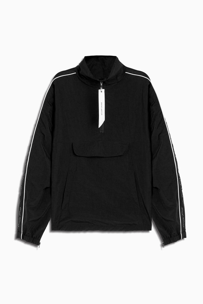 dp anorak track pullover ii in black/ivory by daniel patrick